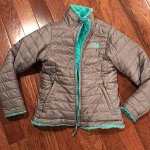 Girls The North Face reversible jacket Gray/Aqua